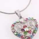 Multi-Color Austrian Crystal Heart Pendant and Necklace