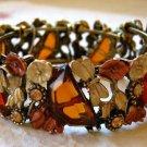 Stretch Cuff Bracelet Acrylic Dragonflys & Rhinestones