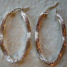 Sterling Silver Egyptian Twisted Oval Hoop Earrings