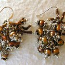 Brown Cultured Pearl Cluster Dangle Earrings