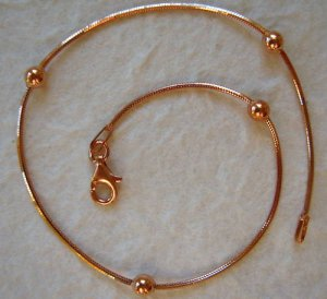 Italy Sterling Silver Rose Gold Bead Ankle Bracelet 10""