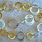 "Two-Tone Sterling Silver & Gold Link Bracelet 7""-8"""