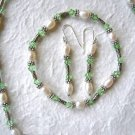 6-7mm White Pearl & Green Crystal Necklace Set