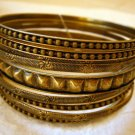 Antiqued Brass Fashion Bangle Bracelets Set