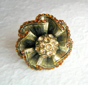 Art Deco Gold Flower Adjustable Ring w/Rhinestones