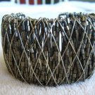 Metal Cuff Bracelet Acrylic Glass Beads Gray Tones