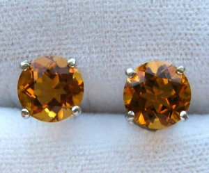 3.60ct Genuine Madeira Citrine Sterling Silver Earrings