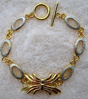 Two-Tone Silver & Gold Tone Spider Link Bracelet 6-8""