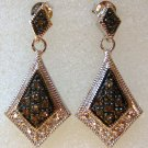 Brown Diamond Sterling Silver Dangle Earrings .20ct
