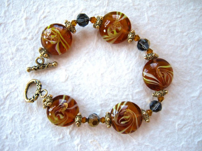 Carmel Citrine Murano Glass Bead Stretch Bracelet