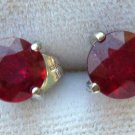 3.20ct Synthetic Red Ruby Sterling Silver Earrings