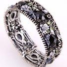 Stretch Cuff Bracelet Acrylic Flowers Black Rhinestone