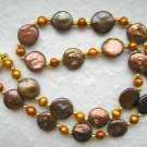 "18"" Designer Brown Freshwater Coin Pearl Necklace"