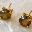 14k Round Cut Andalusite Gemstone Stud Earrings