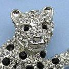 Silver Tone Crystal Leopard Pin Brooch