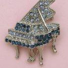 Silver Tone Crystal Grand Piano Pin Brooch Blue