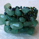 Aventurine Nugget and Glass Bead Stretch Ring