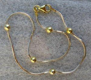 "Italy Sterling Silver & 14k Gold Bead Ankle Bracelet 9"""