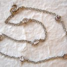 """Sterling Silver and CZ Tin Cup Anklet 9"""""""