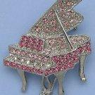 Silver Tone Crystal Grand Piano Pin Brooch Pink