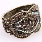 Antiqued Gold tone Art Deco Rhinestone Bangle Bracelet