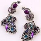 "Antiqued Silver Tone Art Deco Dangle Earrings 3"" Purple"