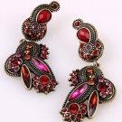 "Antiqued Gold Tone Art Deco Dangle Earrings 3"" Red"