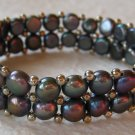 Handmade Two-Strand Black Cultured Pearl Stretch Bracelet