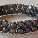 Handmade Two-Strand Black Cultured Pearl Stretch Bracelet