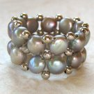Gray Two-strand Freshwater Pearl Stretch Ring