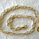 Italian Made Sterling Silver & Gold Ankle Bracelet 11""