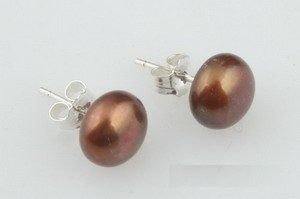 Brown Pearl Sterling Silver 925 Earrings 8-8.5mm