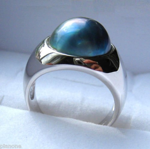 13mm Blue Mabe Pearl Sterling Silver .925 Ring SZ 7