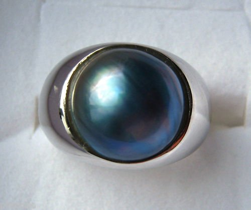13mm Blue Mabe Pearl Sterling Silver .925 Ring SZ 8