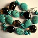 Genuine Turquoise and Smoky Quartz Necklace