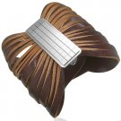 Brown Leather Snap Bracelet with Silver Signet