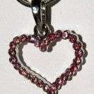 Pink Austrian Crystal Heart Pendant and Necklace