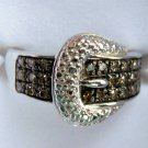 .25 CT Brown Color Diamond Ring - Pave Buckle Design Sz 7