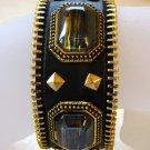 Genuine Black Leather Acrylic Stone Metal Snap Bracelet