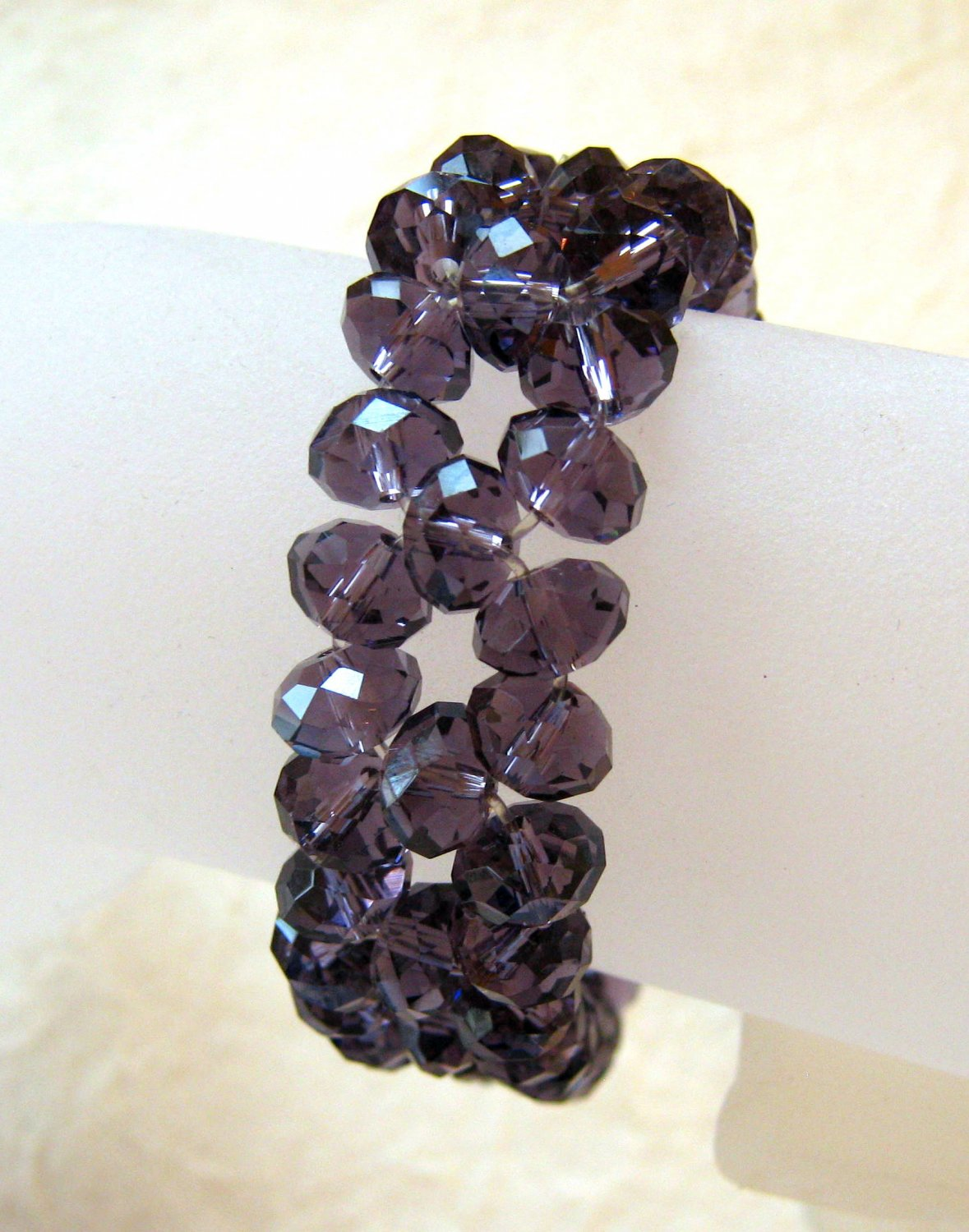 Purple Faceted Crystal Stretch Bracelet