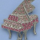 Silver Tone Crystal Grand Piano Pin Brooch