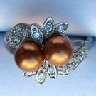 Genuine Copper Swarovski Crystal Pearl and CZ Ring
