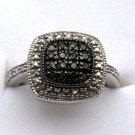 .20 CT Black Diamond Ring - Silver Pave Detail SZ 7