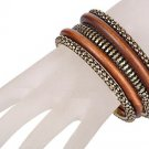 Antiqued Brass and Wood Bangle 5 Piece Bracelet Set