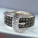 .25 CT Champagne Diamond Buckle Ring Size 5