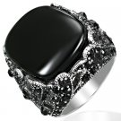 Art Deco Style Black Agate & CZ Medallion Ring Size 9