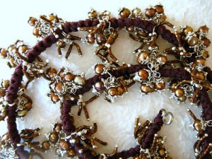 """20"""" Chocolate Brown Color Cultured Pearl Cluster Necklace"""
