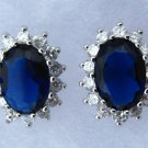 Royal Blue & White CZ Earrings