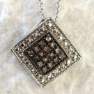 .20 CT Chocolate & Champagne Brown Diamond Sterling Silver Pendant Necklace