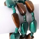 Teal and Brown Wood Beaded Stretch Bracelet